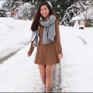 Brown knit long sleeve dress